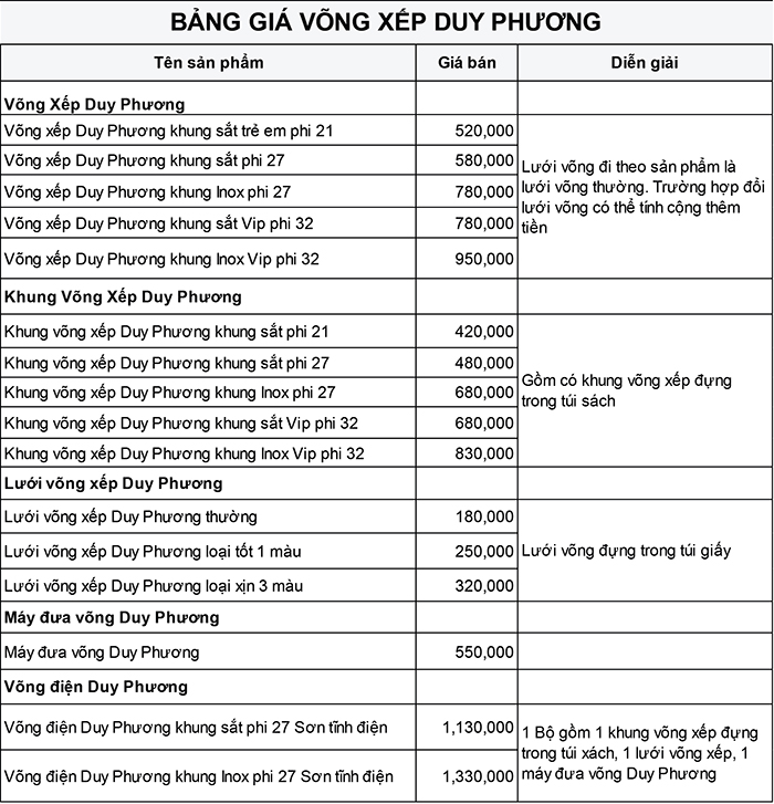 Bảng giá võng xếp Duy Phương - Võng xếp Duy Phương khung inox Vip