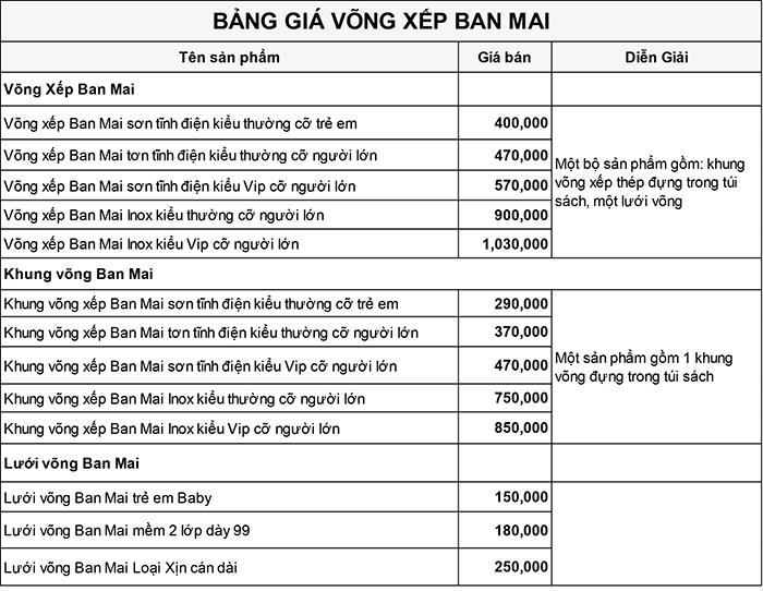 Bảng giá võng xếp Ban Mai - Võng xếp Ban Mai sơn tĩnh điện cỡ trẻ em