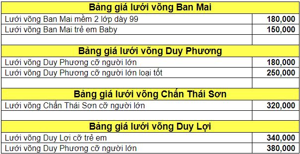 bảng giá lưới võng xếp
